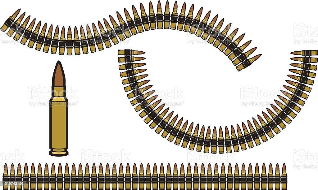 bullet belt vector art illustration