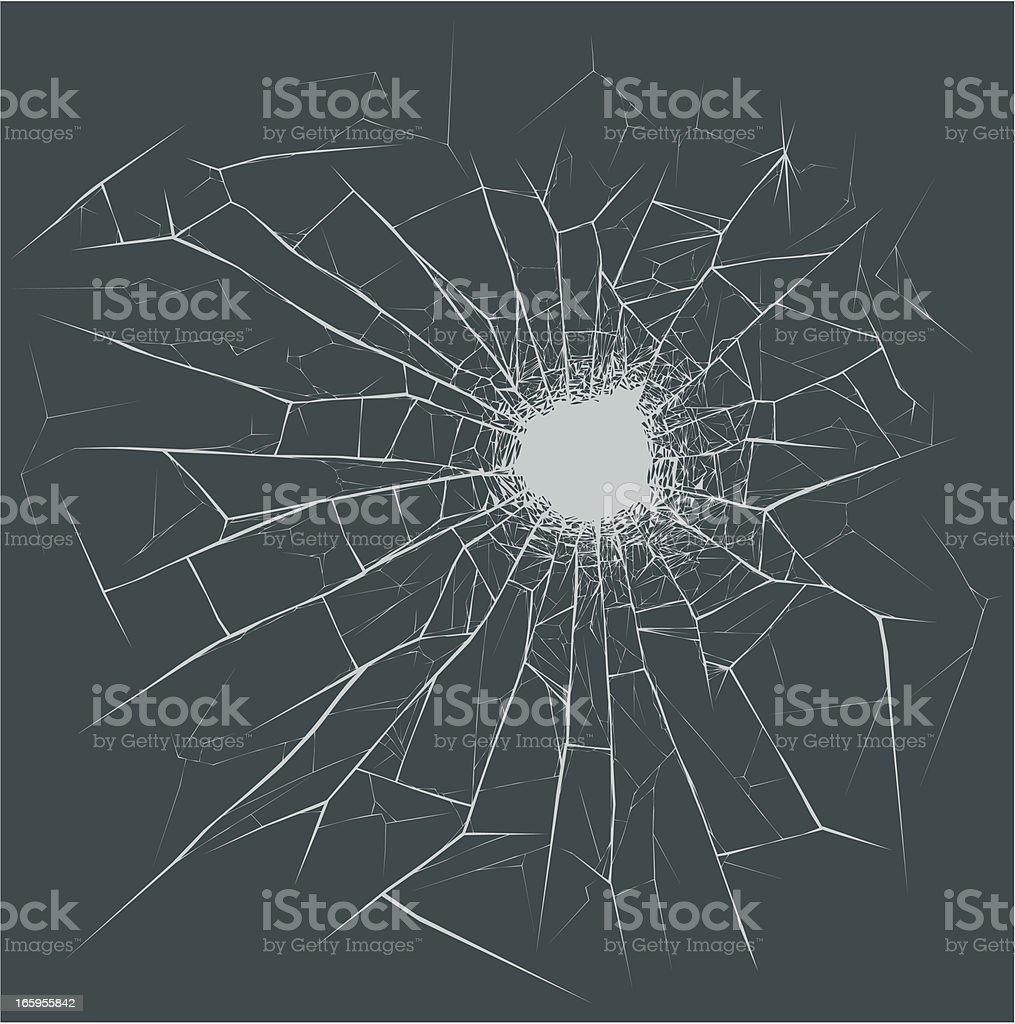 Bullet Hole on the glass vector art illustration