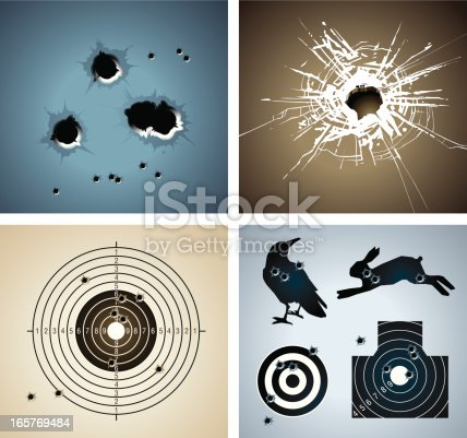 Bullet holes in the wall and glass, different kind targets