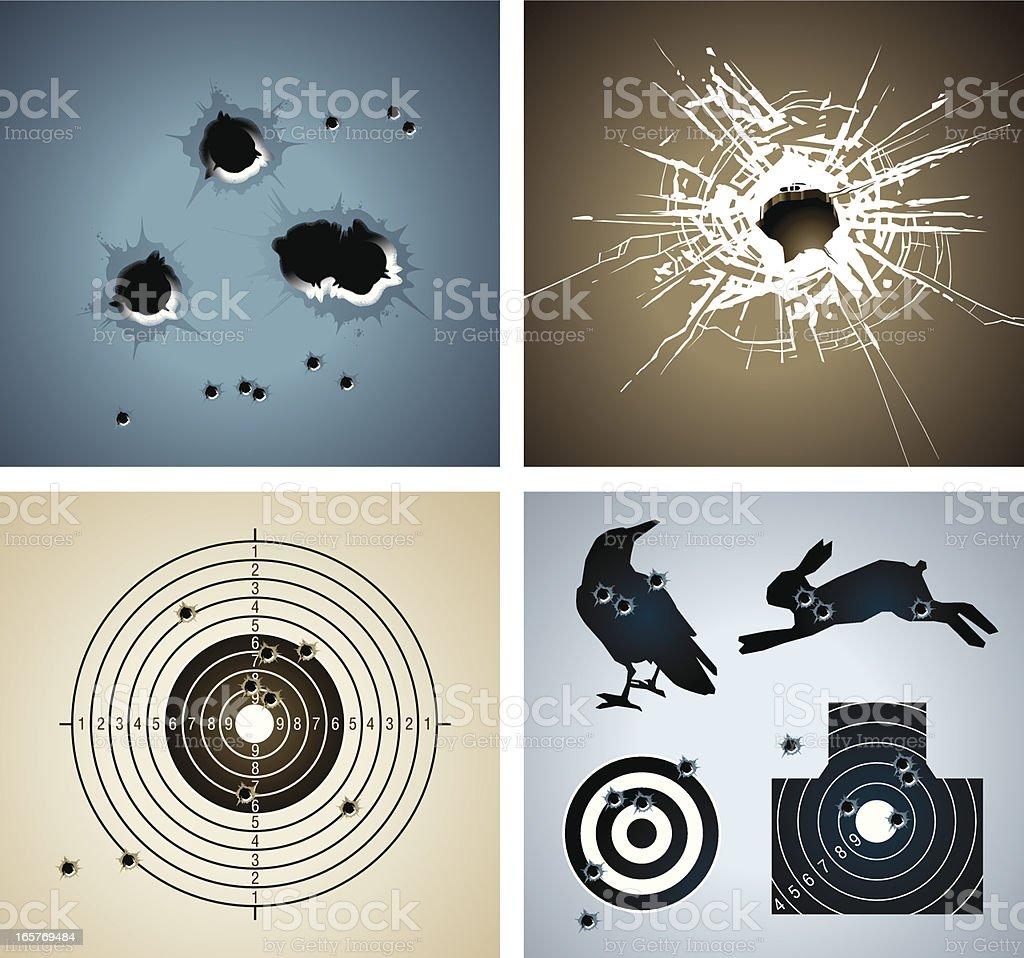 Bullet hole vector art illustration