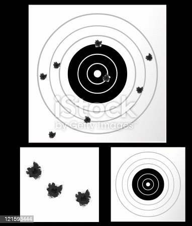 A vector illustration of a paper target for sports shooting with various bullet holes.