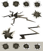Vector illustration of a set of bullet holes, slashes, earthquake cracks and various gunshot impact hollows. File is EPS10 and uses multiply transparency at 100% on holes shadow background. Vector eps and high resolution jpeg files included