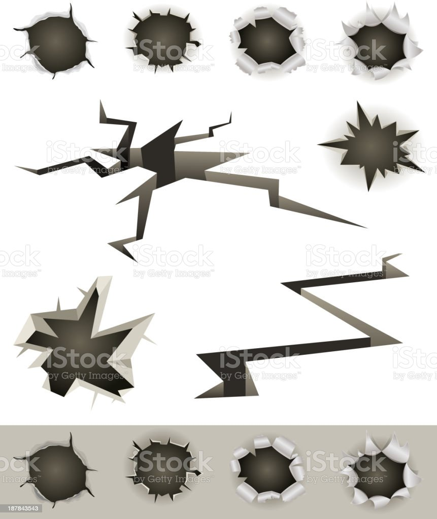 Bullet Holes, Cracks And Slashes Set vector art illustration