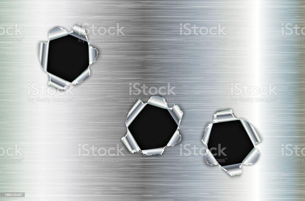 Bullet holes in metal vector art illustration