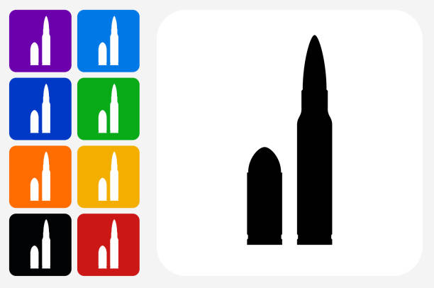 Bullet Icon Square Button Set vector art illustration