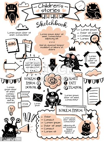 istock Bullet journal doodle elements infographics. Bullet journal doodle infographics elements and children's monsters. Hand-drawn cartoon-style pictures. Vertical poster. Vector illustration 1249606784