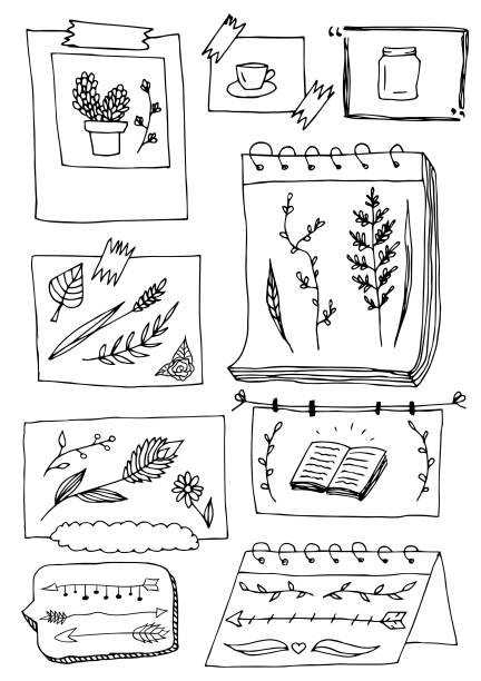 Bullet Journal Frames with Doodle Plants and Arrows. Set of Cute Hand drawn Doodle Banners isolated on white background for your Design. Bullet journal Ideas. Girly Stuff. Harajuku Style. diary stock illustrations