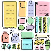 Bullet journal hand drawn vector elements for notebook, diary and planner. Doodle frames set isolated on white background.