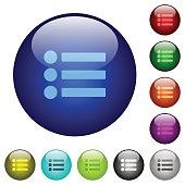 Bullet list color glass buttons