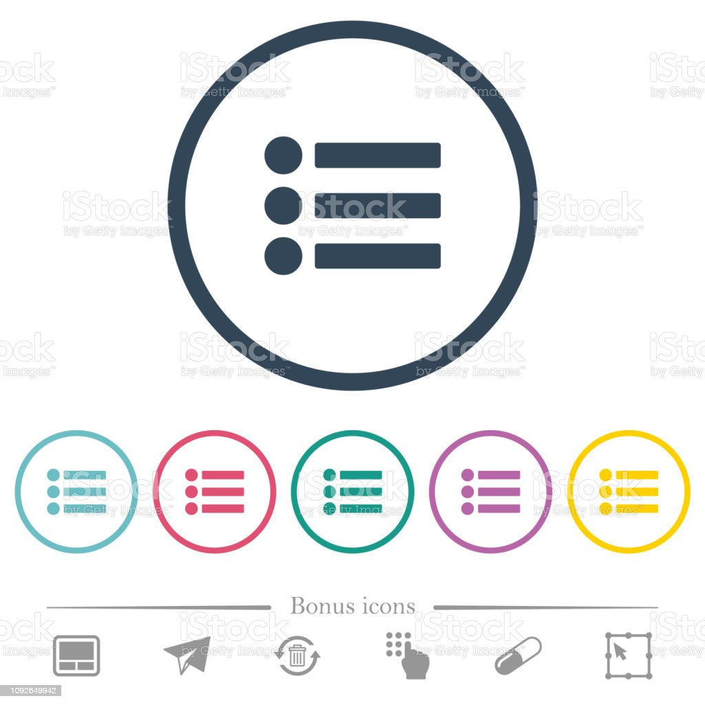 Bullet list flat color icons in round outlines