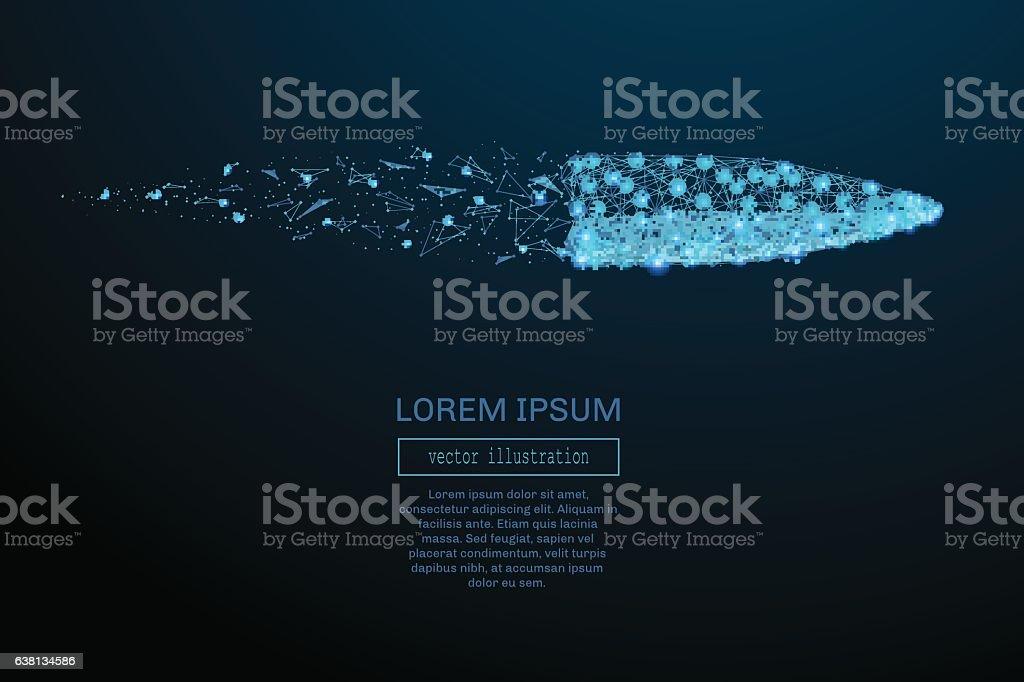 Bullet low poly blue – Vektorgrafik