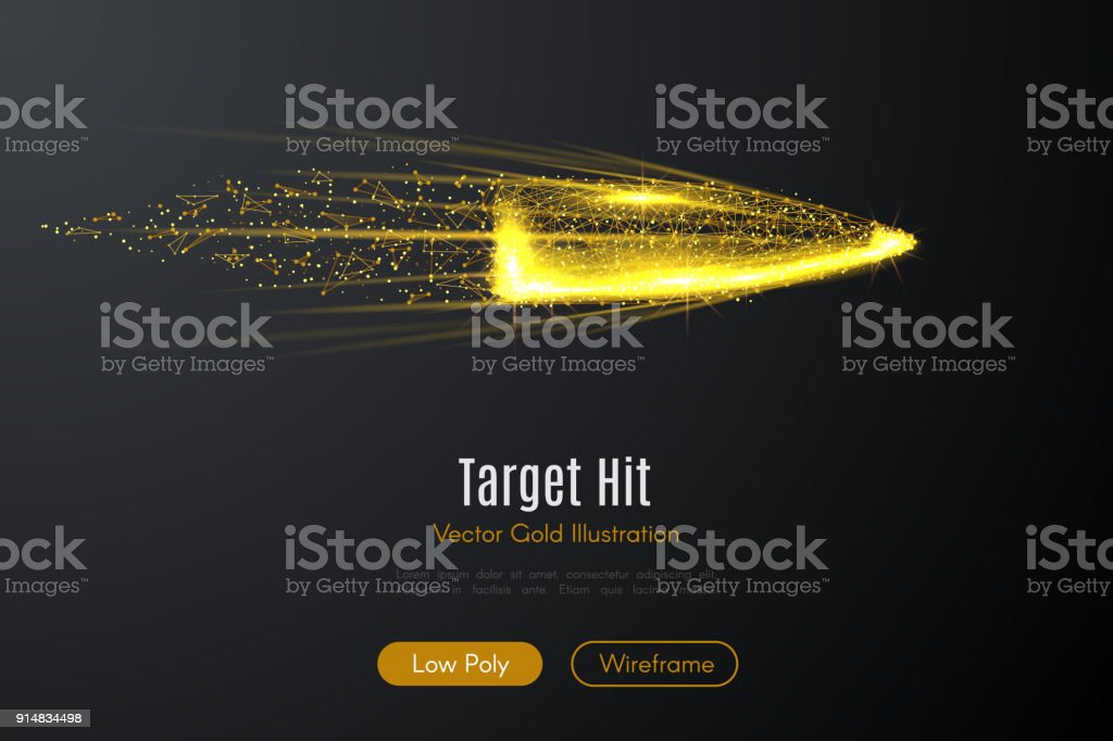 bullet LOW POLY gold vector art illustration