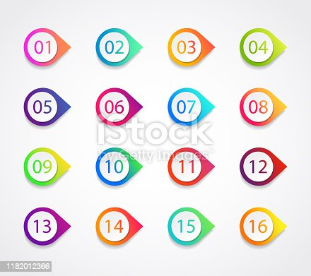Bullet marker icon with number 1, 3, 4, 5, 7, 9, 10, 12 for infographic, presentation. Set of graphic pointer with steps. Sticky point bullet gradient color. Template label info bullet. vector eps10