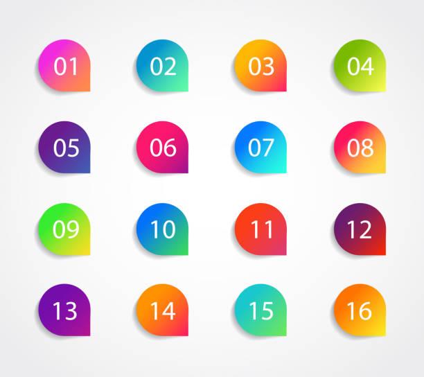 包含數位 1、3、4、5、7、9、10、12 的專案符號圖示,用於資訊圖、演示文稿。帶有步驟的圖形指標集。粘性點專案符號漸變顏色。範本標籤資訊專案符號。向量 - 一個物體 幅插畫檔、美工圖案、卡通及圖標