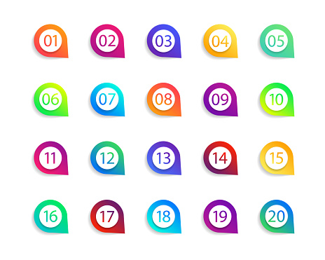 Bullet numbers. Infographic buttons and points. Icon with numbers from 1 to 20. 3d arrows and pointers for promotion. Colorful gradient markers for badges, tags. Modern logos in map interface. Vector