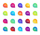 Bullet point icons with numbers. Color circles for infographic with shadow. Markers with number 1 to 20. Rounds for buttons, tags, ui and graphic map. Set of graphic pointer with steps. Vector.
