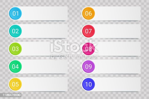 Bullet points with white paper stickers and cope space isolated on transparent background. Vector illustration set of buttons with shadow for business infographic or brochure design.