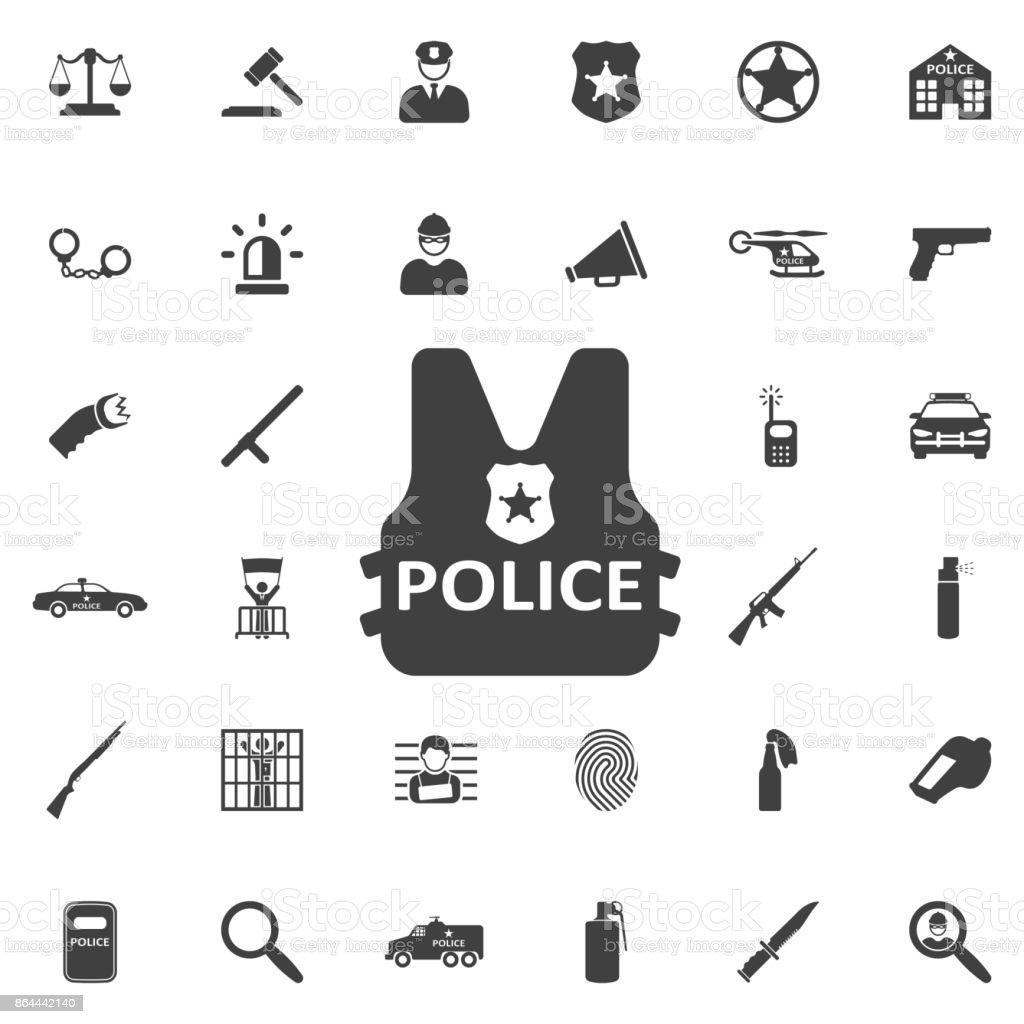Kugelsichere Weste Körper Rüstung Anzug Symbol – Vektorgrafik
