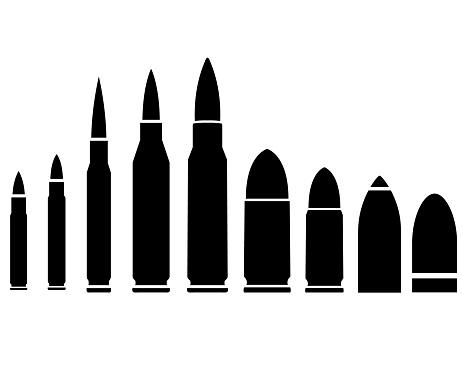Bullet set icon, logo isolated on white background
