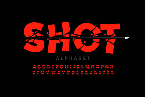 stockillustraties, clipart, cartoons en iconen met opsommingsteken shot lettertype - gun shooting