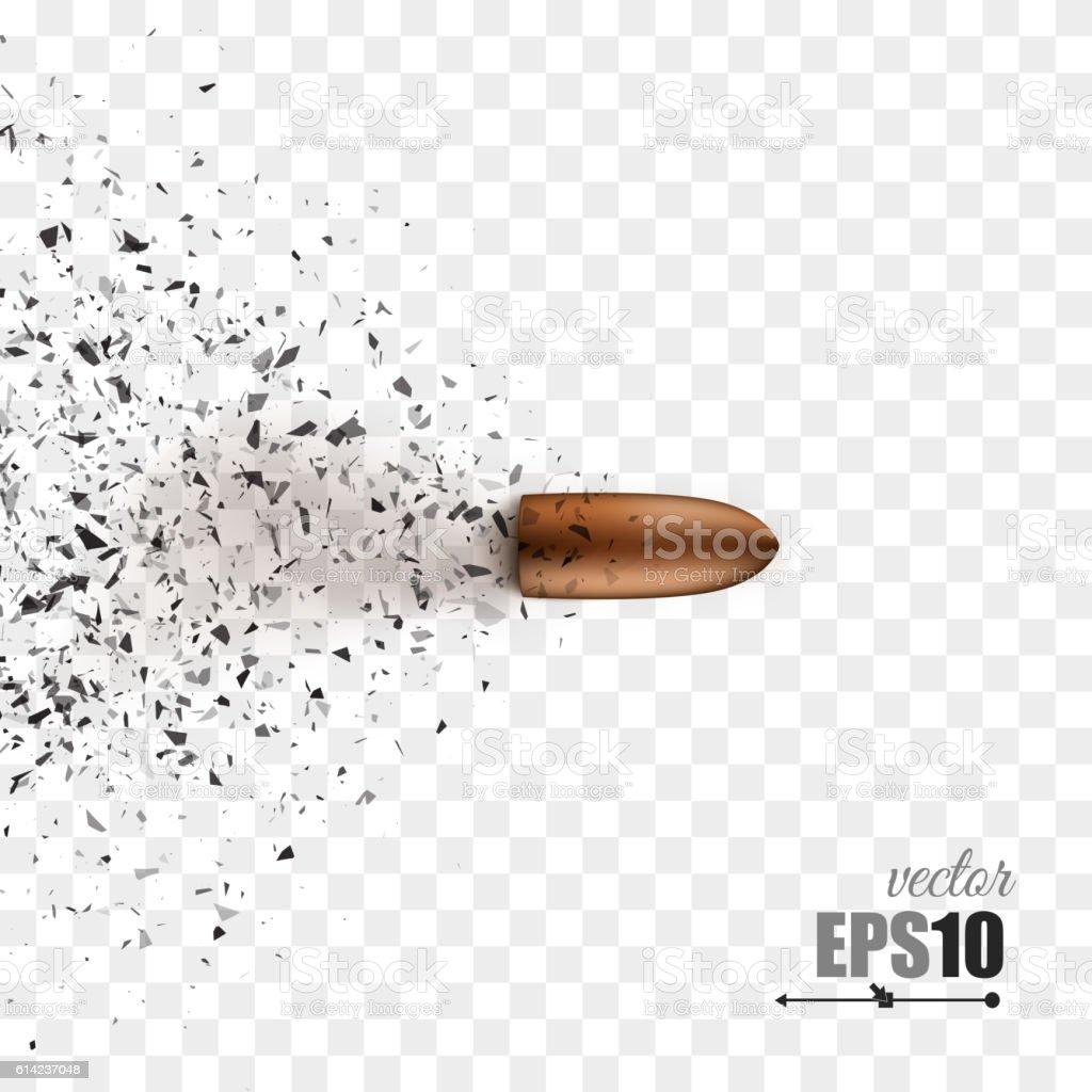 Bullet shot smashed the glass in the splinters. Vector vector art illustration