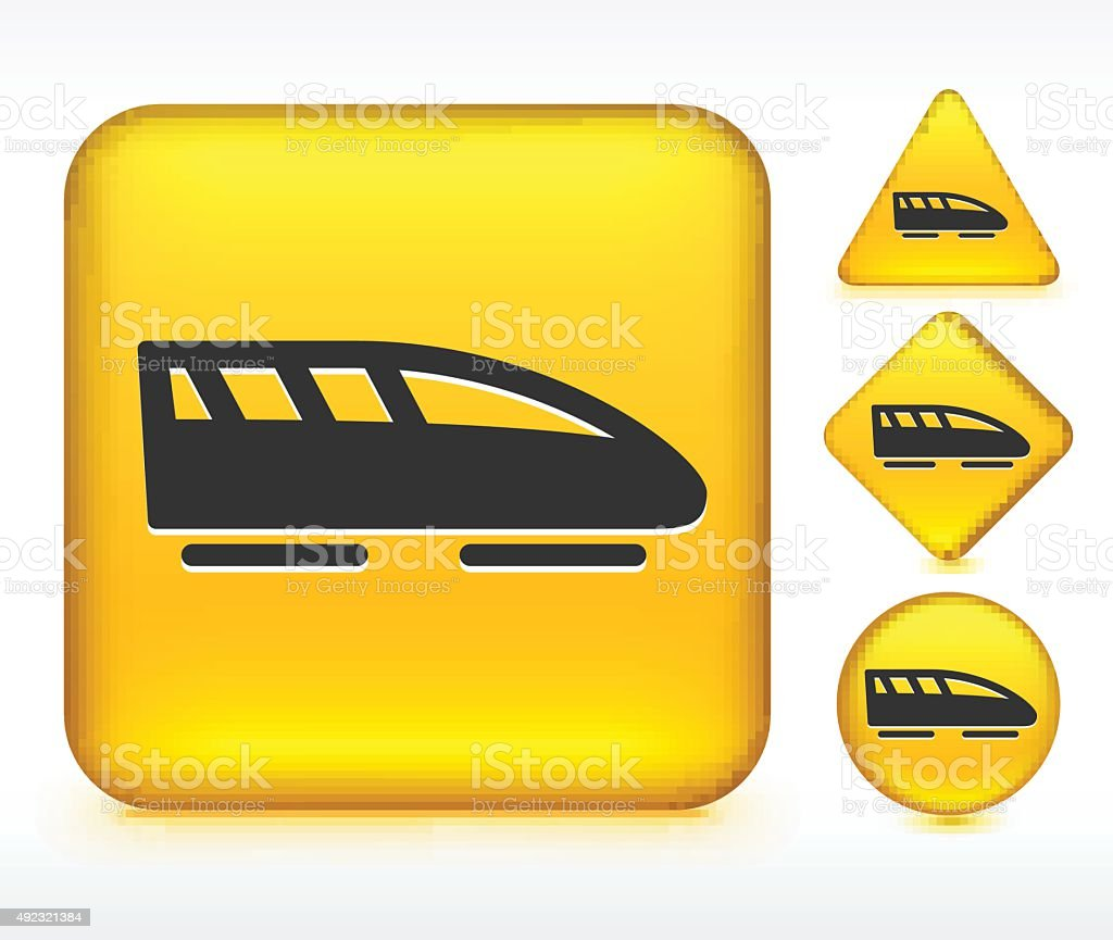 Bullet Train on Yellow Buttons vector art illustration