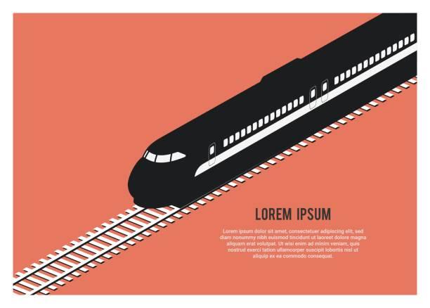 bullet train silhouette simple isometric illustration simple isometric illustration of bullet train silhouette high speed train stock illustrations