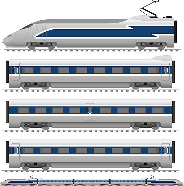 Bullet Train Vector illustration of a bullet train with locomotive, dining car and passenger cars. high speed train stock illustrations