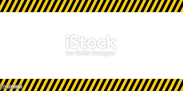 Bulletin board for important announcements, yellow and black diagonal stripes, vector warn caution construction danger border