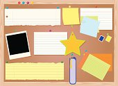 A wooden bulletin board full of scraps of paper, note paper, post-it notes, bookmark, stamps, index cards, etc. Each item grouped for easy editing. Gradients were used. Extra large JPG, thumbnail JPG, and Illustrator 8 compatible EPS are included.