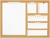 Bulletin board with paper attached by tape and push pin, corkboard with paper notes, vector eps10 illustration