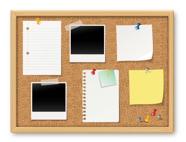 illustrazioni stock, clip art, cartoni animati e icone di tendenza di bulletin board - post it