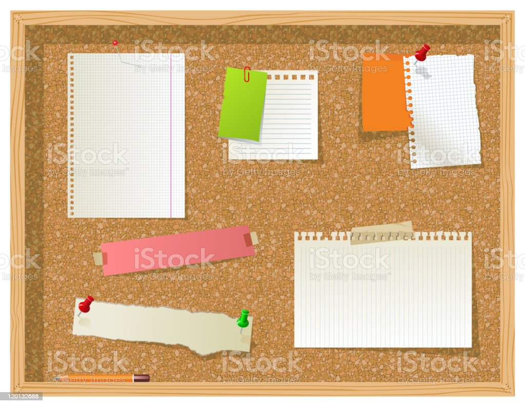 Bulletin board with multiple blank sheets pinned to it  vector art illustration