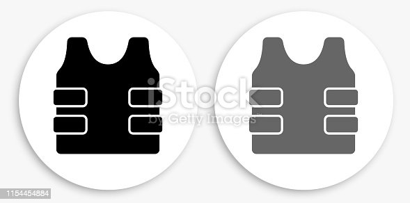 Bulletproof Vest Black and White Round Icon. This 100% royalty free vector illustration is featuring a round button with a drop shadow and the main icon is depicted in black and in grey for a roll-over effect.