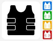 Bulletproof Vest Icon Flat Graphic Design