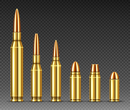 Bullets of different calibers stand in row from big to small. Copper or gold colored shots, military handgun ammo weapon metal gunshots isolated on transparent background, realistic 3d vector set