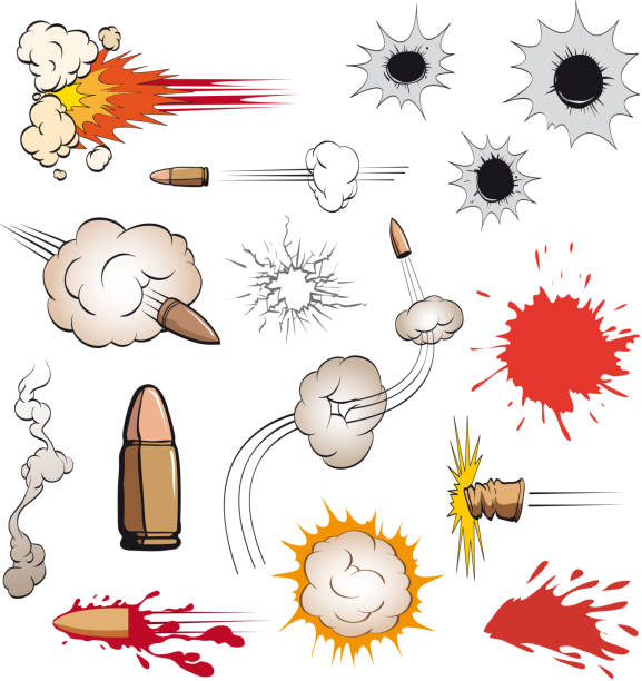stockillustraties, clipart, cartoons en iconen met bullets set - gun shooting