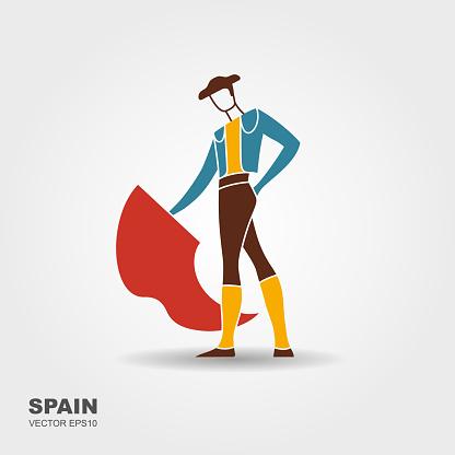 Bullfight, matador. Flat stylized icon