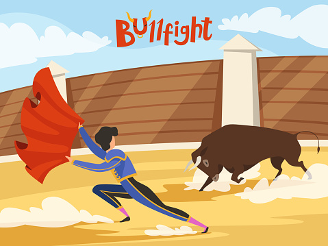 Bullfighting background. Spain traditional performance with matador and bull. Dance of the death