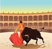 Bullfighting - Matador and Bull Contesting in the Arena