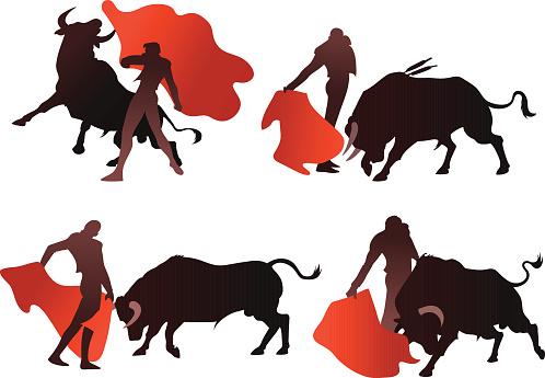Bullfighting Silhouettes with Bull and Matador