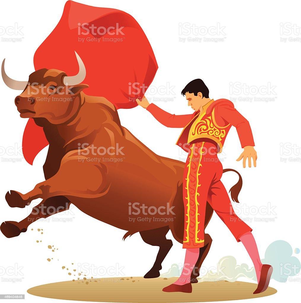 Bullfighting with Matador and Angry Bull vector art illustration