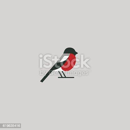 Bullfinch icon design. Abstract concept bird. Vector illustration.