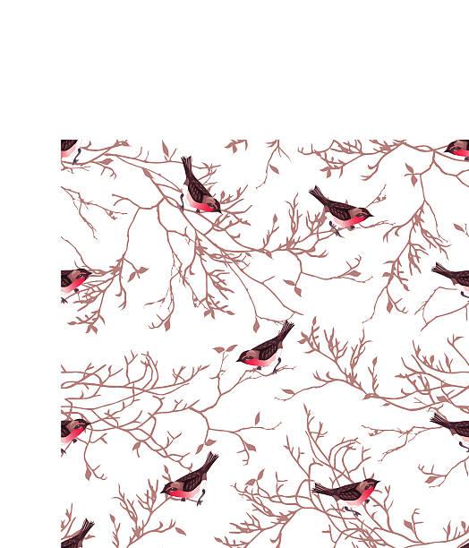 bullfinches und geäst nahtloser vektor-muster - dompfaff stock-grafiken, -clipart, -cartoons und -symbole
