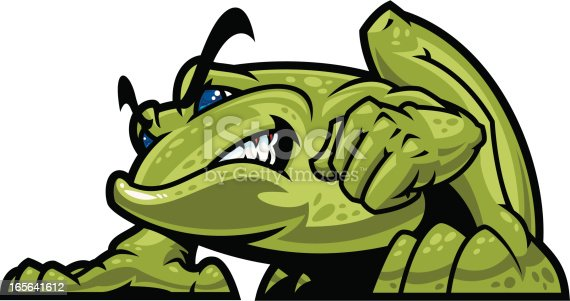 This is an illustration of a powerhouse Bullfrog Mascot. I wanted the weight of this beast to look like you'd feel him if he jumped on you. All secondary color levels are removable down to a simple flat color image. A BLACK & WHITE version is also available for download. The file is provided as an Illustrator 8 EPS and a 300dpi high-rez jpg.