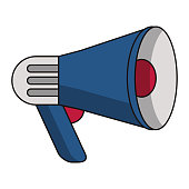 Bullhorn advertising symbol isolated