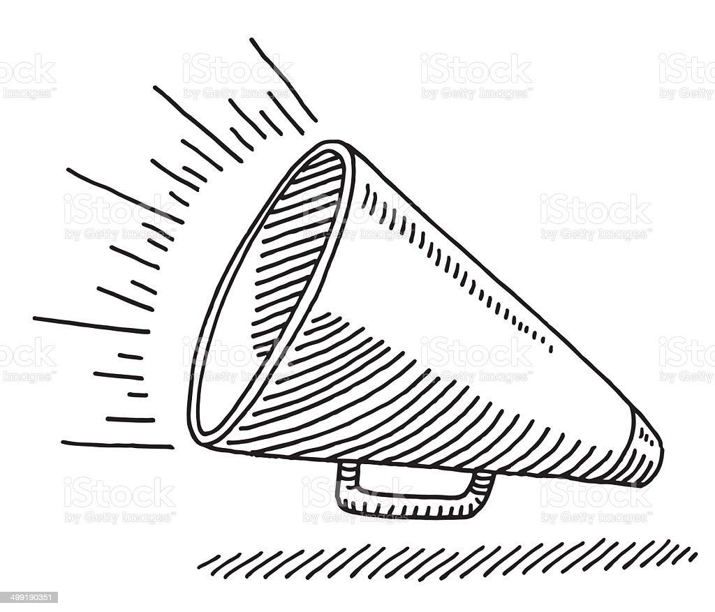 Bullhorn Equipment Drawing vector art illustration