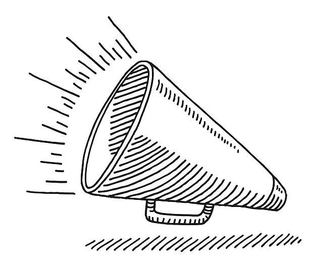 schalltrichter ausstattung zeichnen - megaphone stock-grafiken, -clipart, -cartoons und -symbole