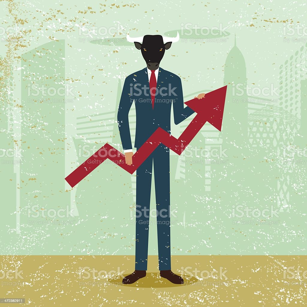Bullish market upward bull business trend city share trading range royalty-free stock vector art