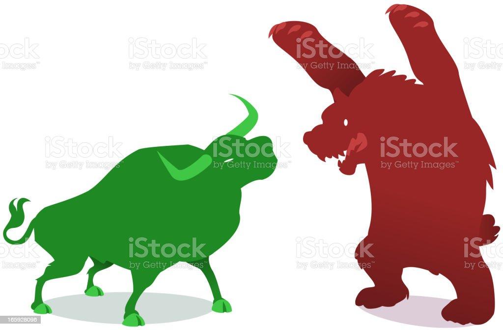 bullish vs bearish Wall street fighters Animals royalty-free stock vector art